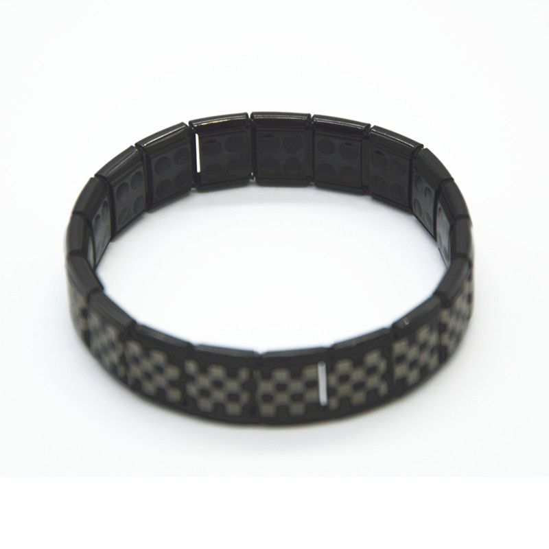 50pcs Wholes Men Bracelets Hologram Energy Bangles Black With Germanium Ball Fashion Jewelry Wristband Health Curing