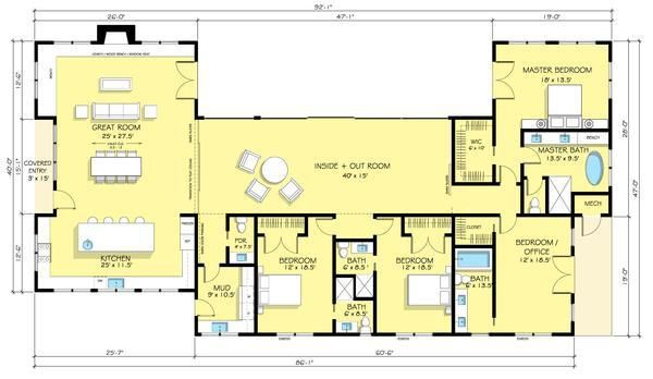 planos de casas americanas de una planta 4 dormitorios