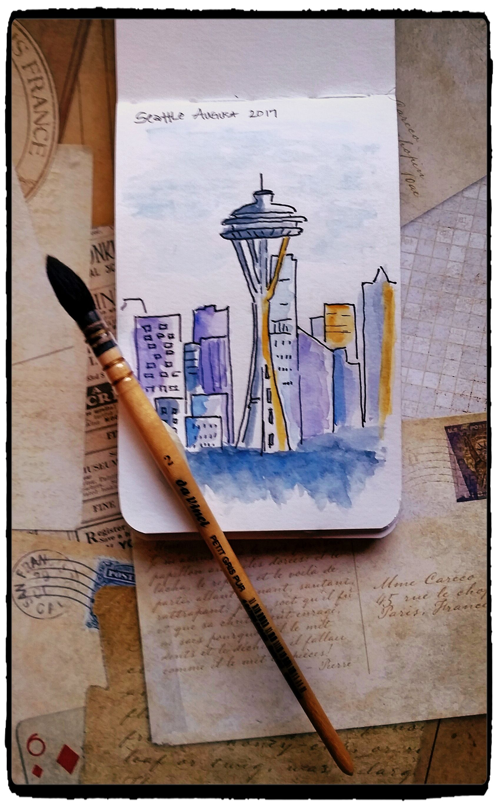 Watercolor Sketch Of Seattle Skyline Watercolor Sketch