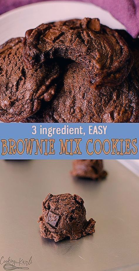Brownie Mix Cookies are rich fudgey cookies made from only 3 ingredients! Easily thrown together, t