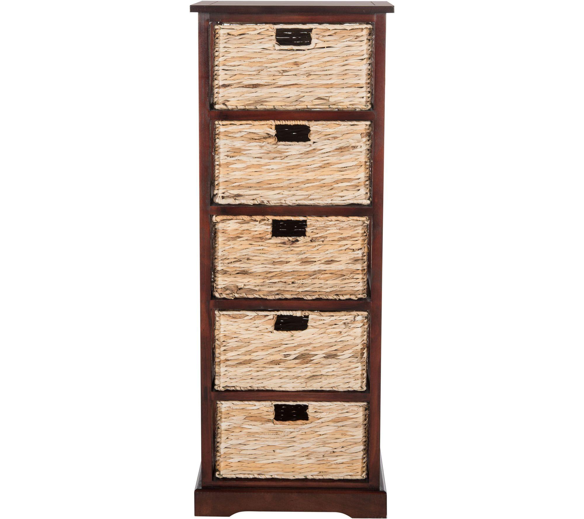 Safavieh Vedette 5 Wicker Basket Storage Tower Qvc Com Storage