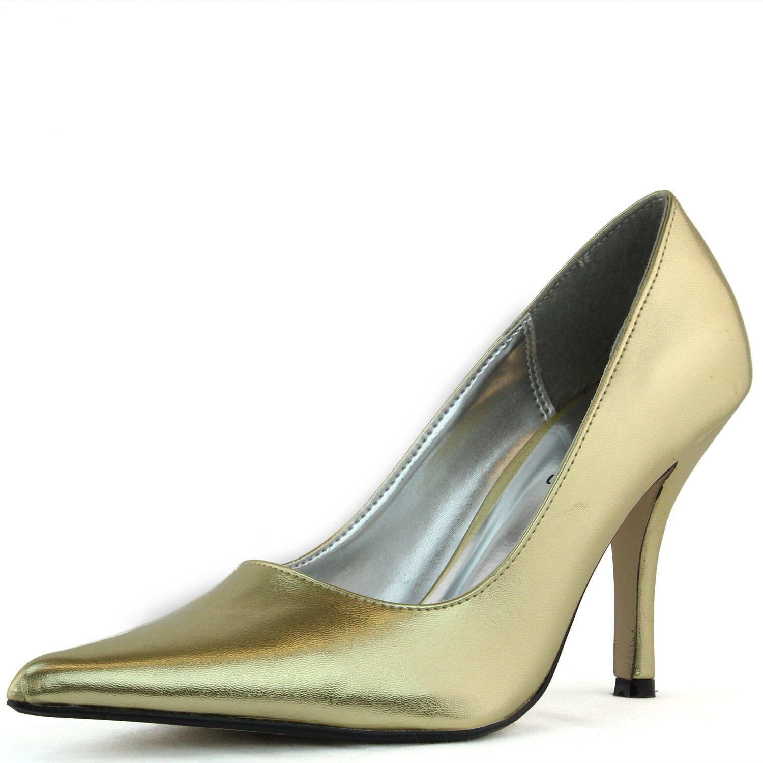 Womenus trendsup cosmo metallic gold color pointy pumps shoes