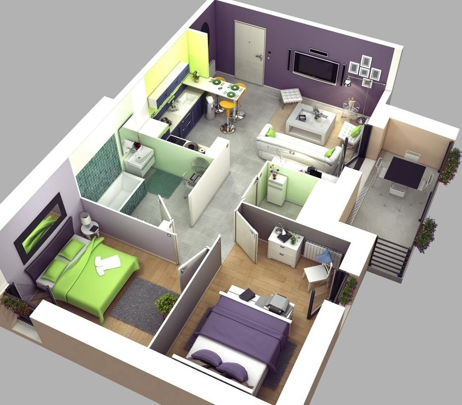 Home And Apartment, The Best Design Of Two Bedroom Cabin