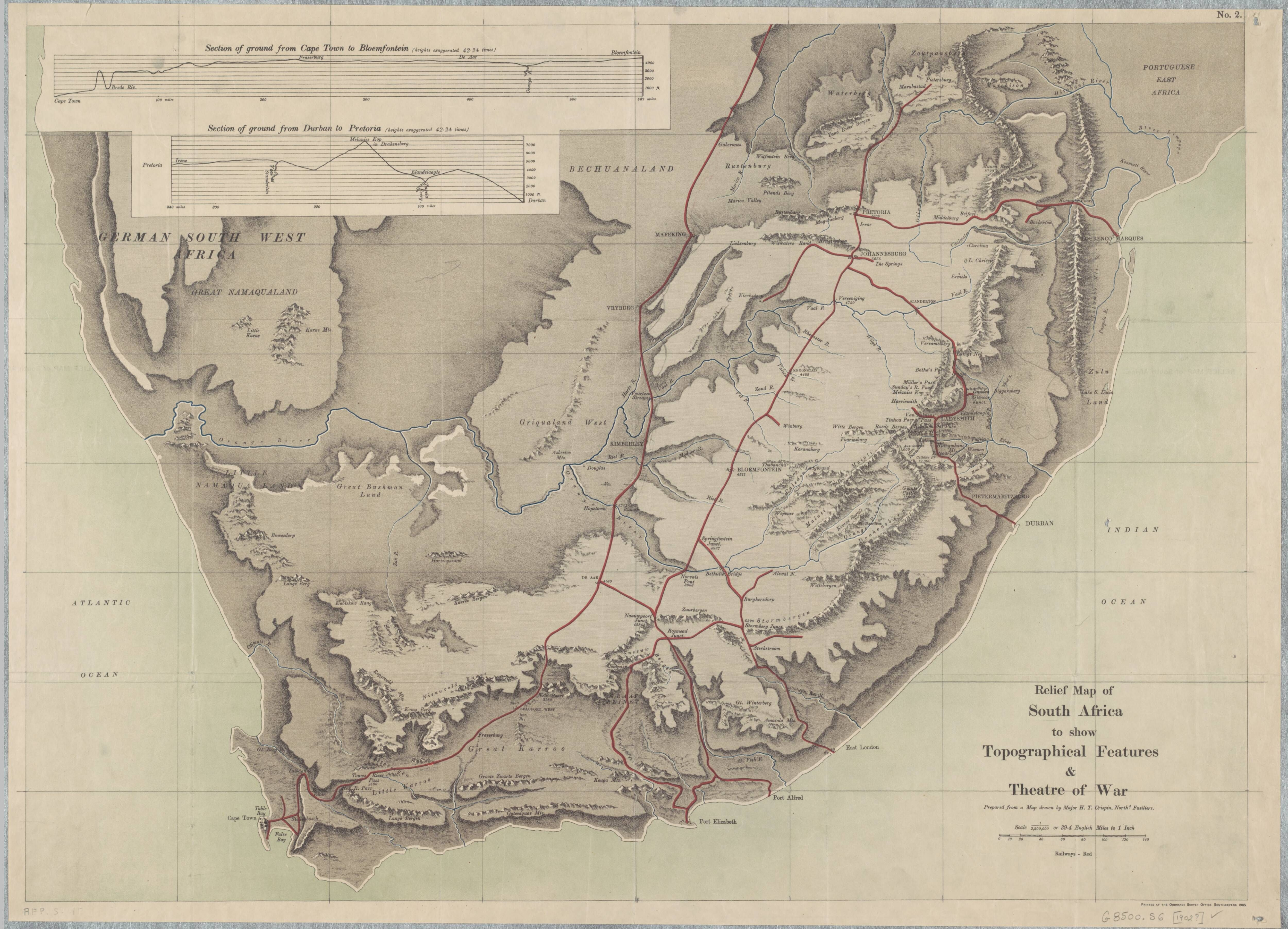 Relief Map Of Southern Africa.1905 Relief Map Of South Africa To Show Topographical