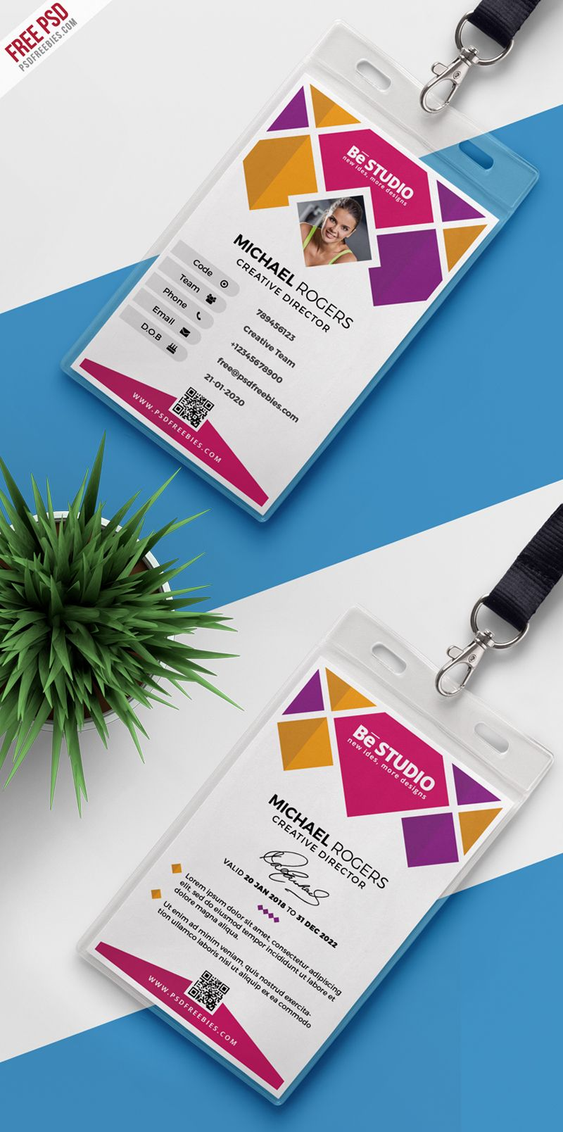 Creative Office Identity Card Psd Psdfreebies Com Id Card Template Employee Id Card Card Design