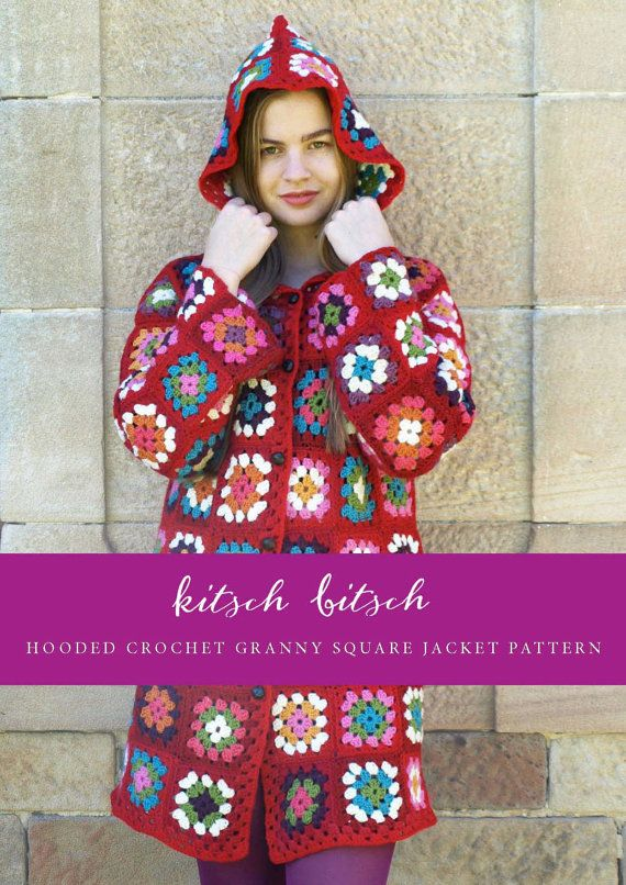 Hooded Crochet Granny Square Jacket Pattern by KitschBitschVintage ...