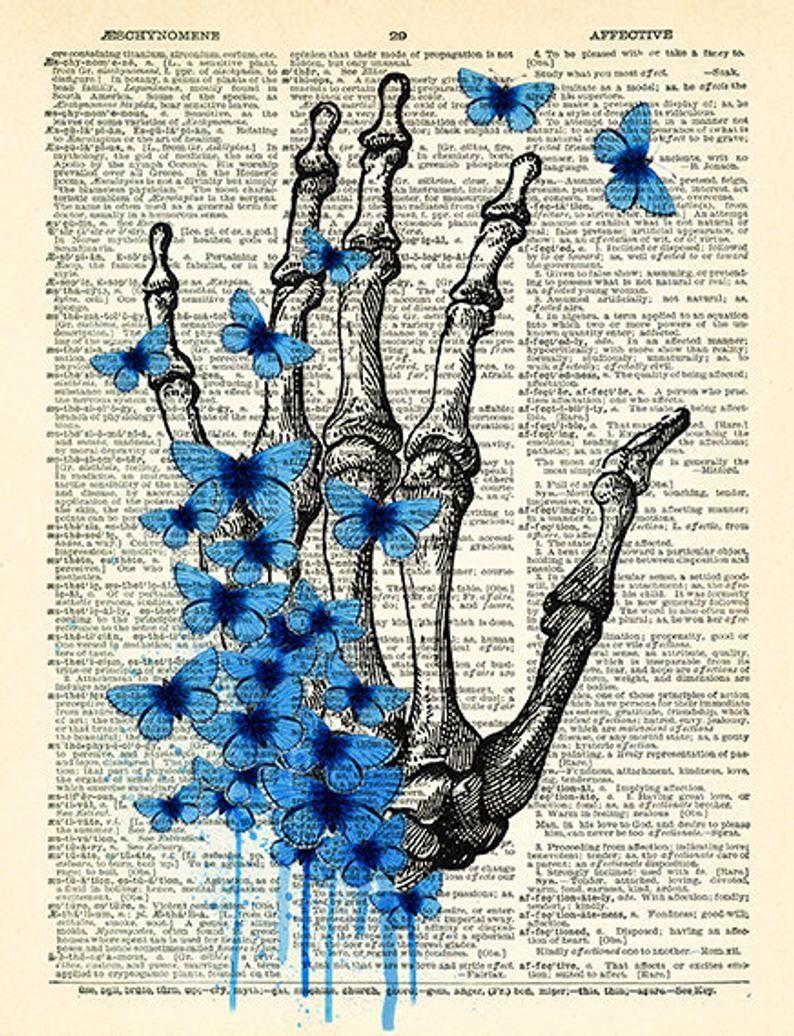Skeleton Hand Art Blue Butterflies Art Print Skeleton Poster | Etsy