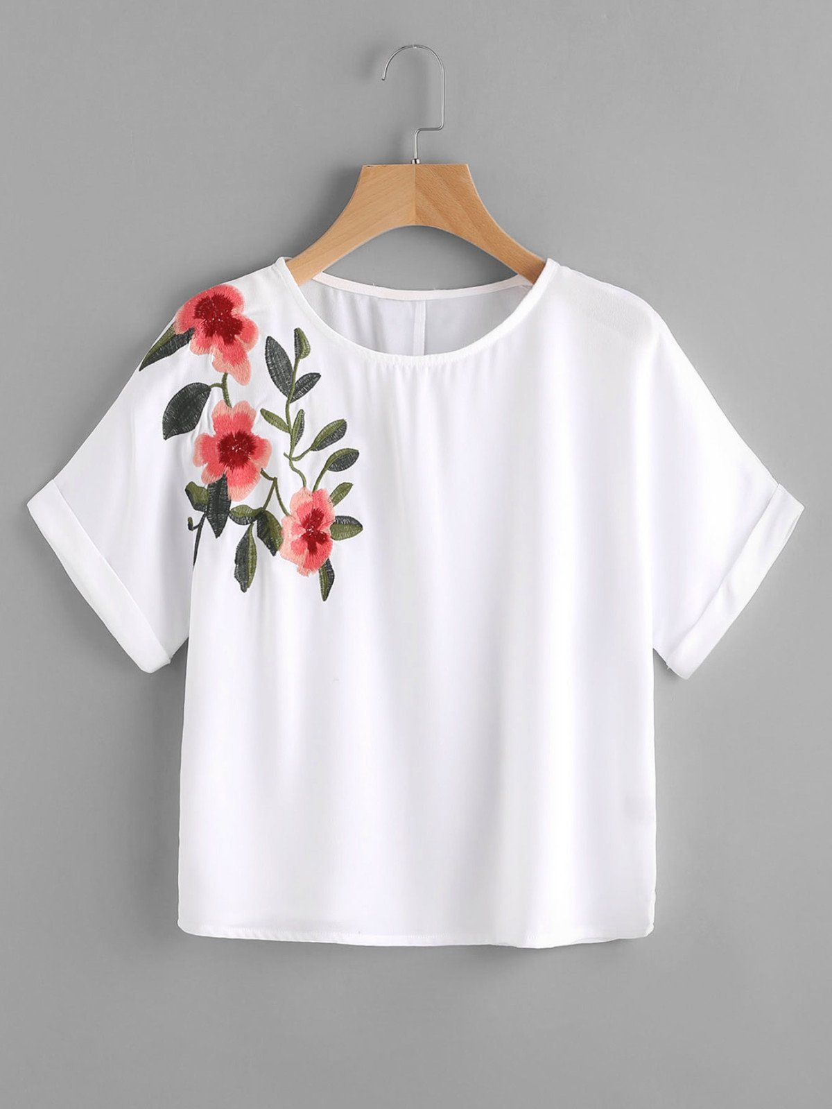 Rolled cuff embroidery crop tee winter fashion shirt designs and