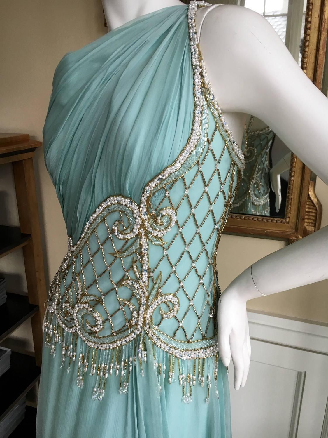 Bob Mackie One Shoulder Turquoise Goddess Gown with Fringe Pearl ...