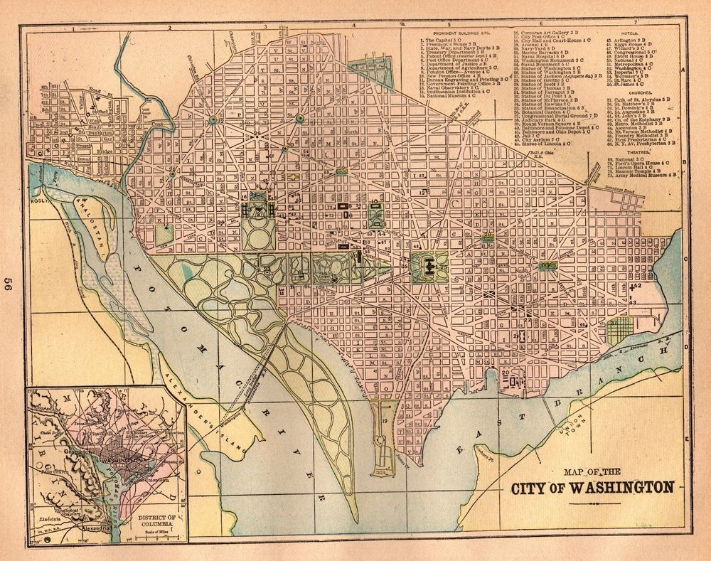 1899 Antique WASHINGTON DC Map Vintage City Map Of DC Gallery Wall