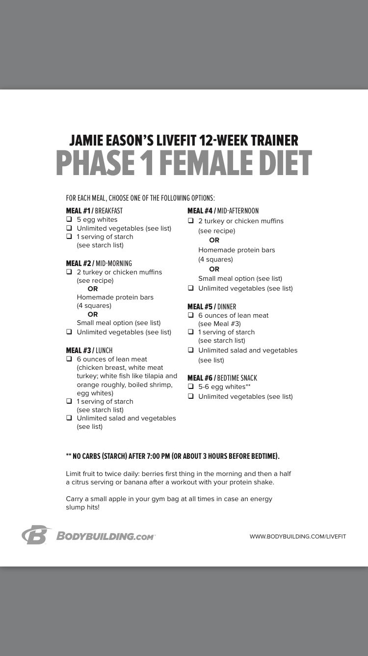 Jamie Eason Phase 1 Meal Plan Health And Fitness Diat Und Ernahrung