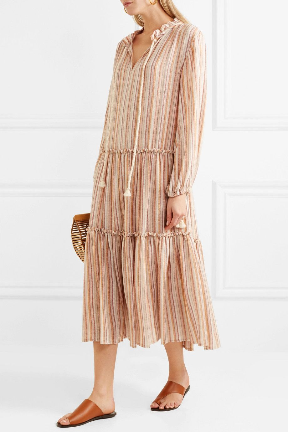 Rope-trimmed Tiered Striped Gauze Dress - Neutral See By Chlo BdokP