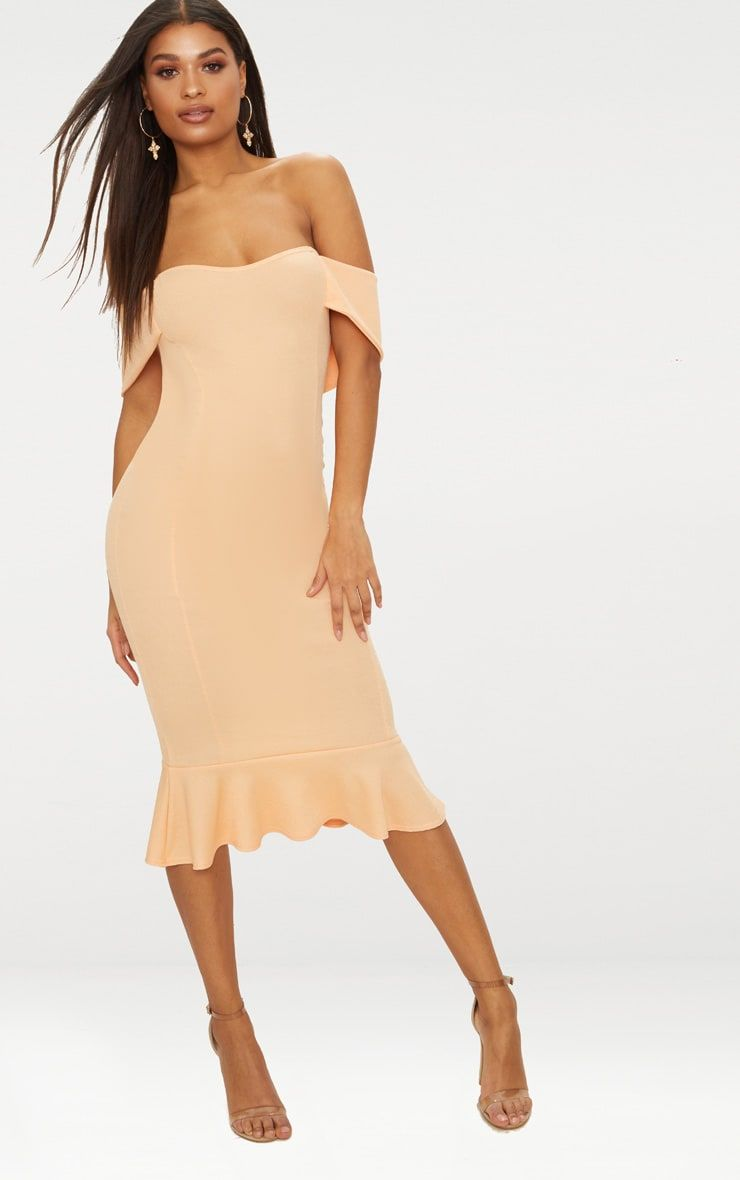 6831229133ee Tangerine Bardot Frill Hem Midi DressGirl you will look hella cute in this  dress, featuring a tan.