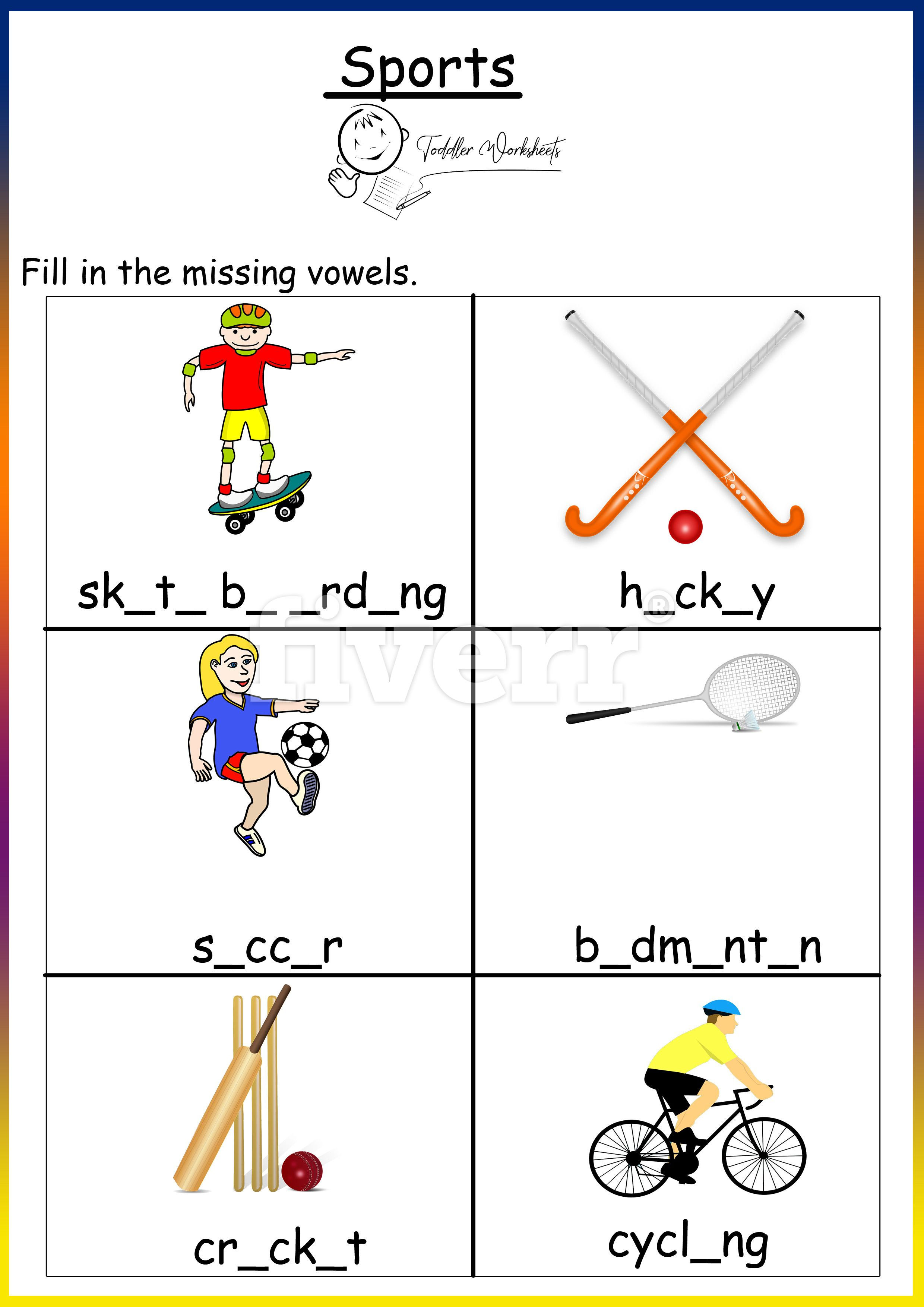Preschool Free Worksheets Sports