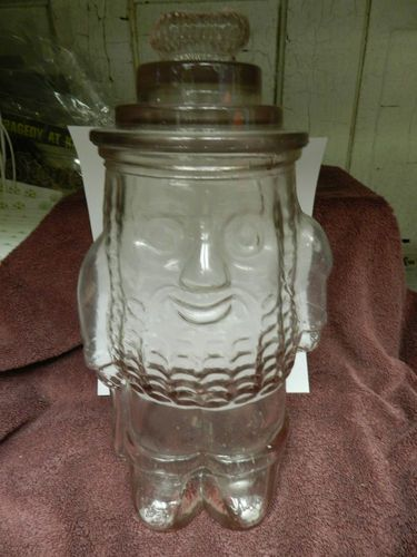 Vintage Mr Peanut Glass Cookie Jar In Excellent Condition