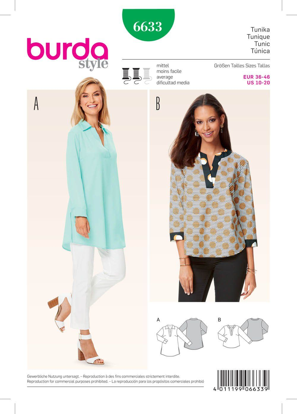 a20fede42f46 Purchase Burda 6633 Misses' Tunic and read its pattern reviews. Find other  Tops, sewing patterns.