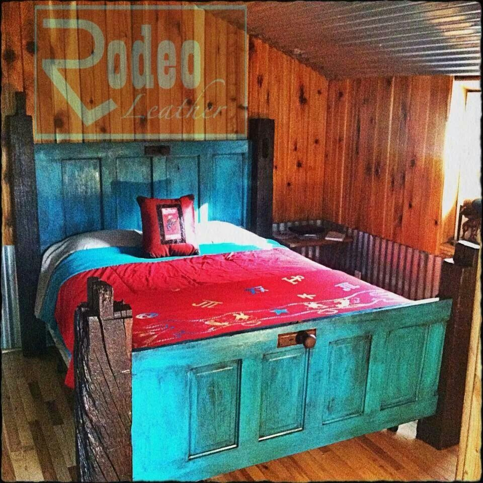 Medium Wood Teen Room Interior: Bed Frame Made With Doors