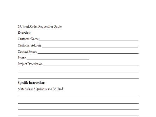 Work Request Form - Resume Template Sample