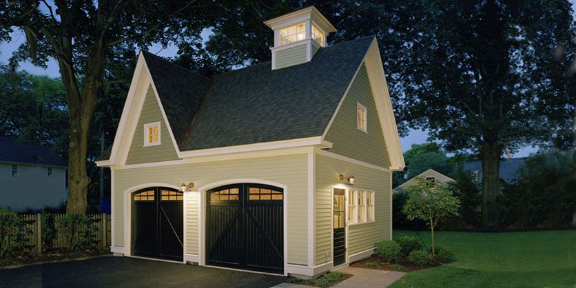 Jacob Lilley Architects Red Garage Concord Ma Carriage House Garage Garage Plans Detached Black Garage Doors