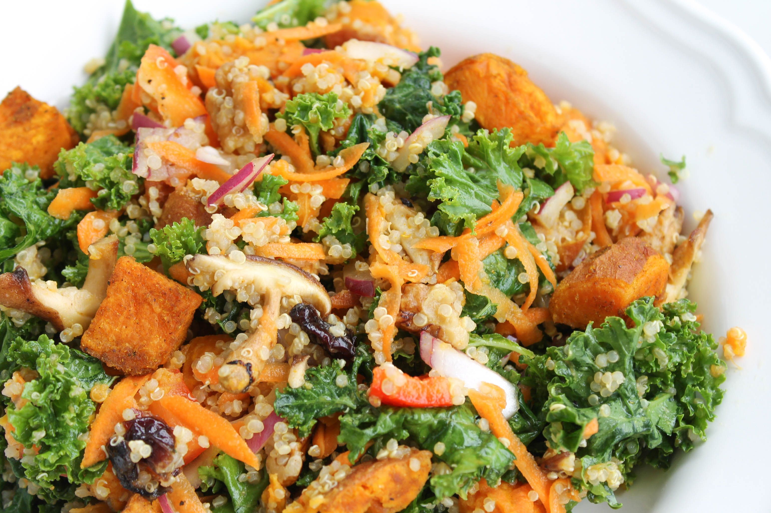Make a big batch of this Shiitake and Sweet Potato Kale Salad with Miso Ginger Dressing ahead of time for weekday lunches. It Keeps fresh for up to 5 days.