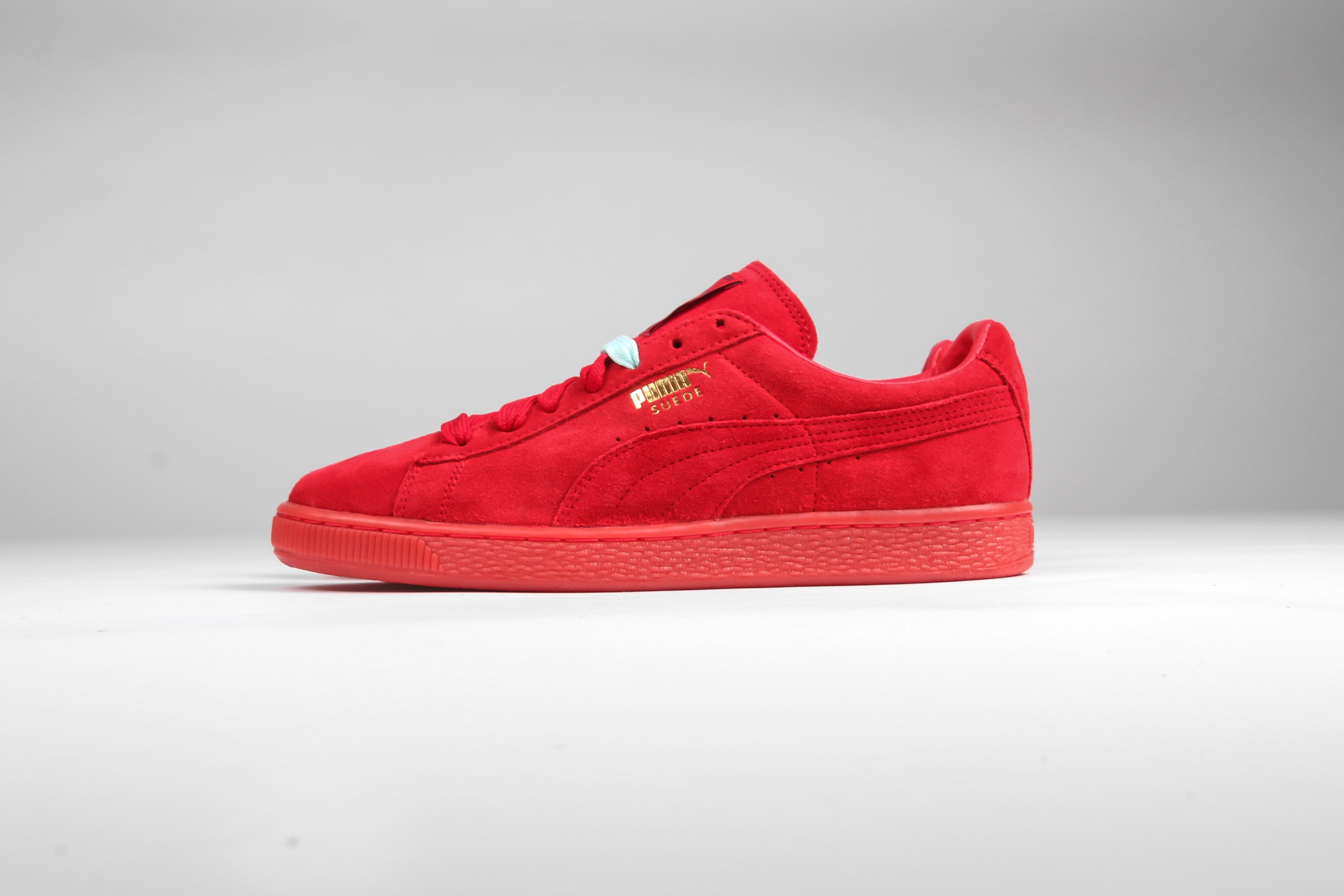Puma Suede + Mono Iced (High Risk Red) -  65 at Rock City Kicks and online  at rockcitykicks.com. Check out our  New Arrivals  tab. 60f4ed793