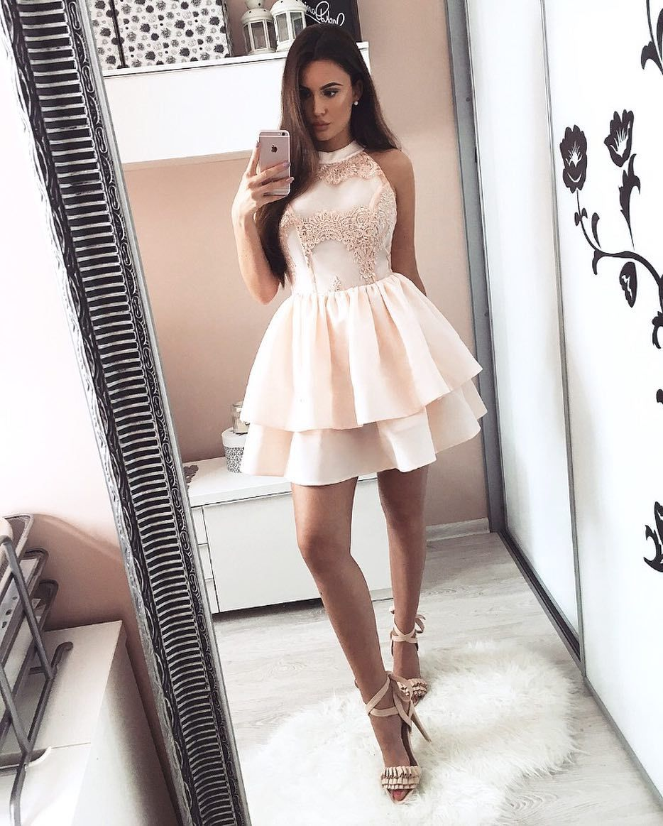 A-Line Round Neck Pearl Pink Tiered Homecoming Dress with Appliques ...