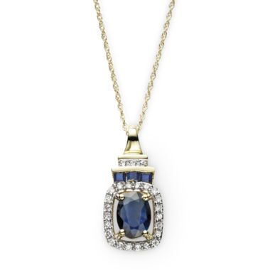 1/8 CT. T.W. Diamond & Sapphire 10K Yellow Gold Pendant Necklace  found at @JCPenney