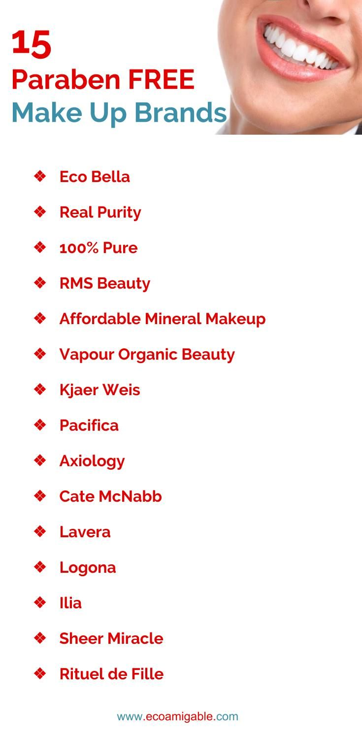 List Of Makeup Without Parabens Paraben Free Makeup Paraben Free Products Chemical Free Makeup