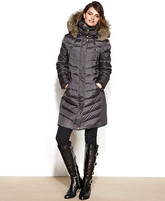 2efefd795a67f MICHAEL Michael Kors Petite Faux-Fur-Trim Hooded Puffer Down Coat ...