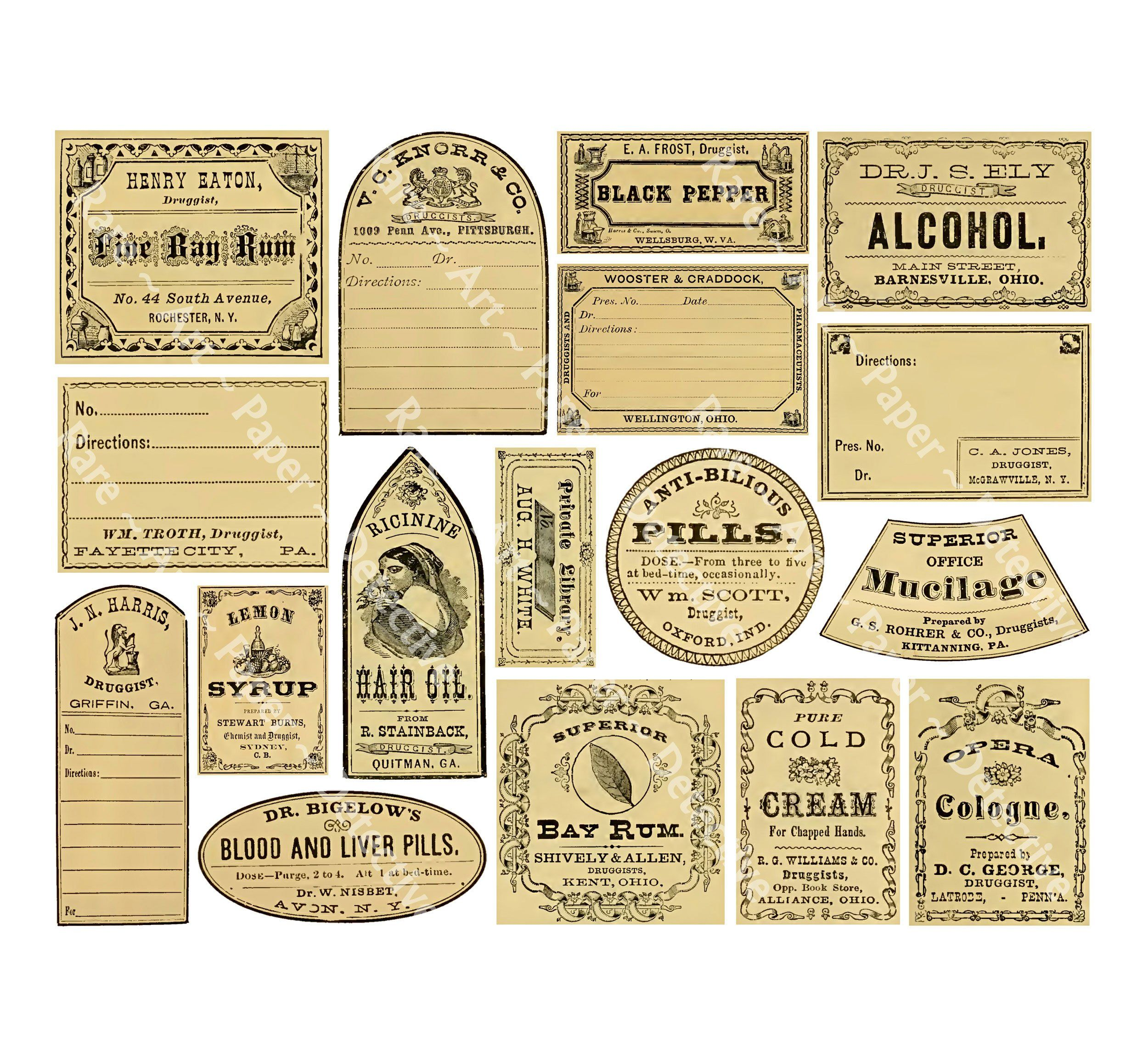 10 PC HALLOWEEN VINYL LABELS STICKERS BOTTLES JARS CRAFTS HOME DECOR APOTHECARY
