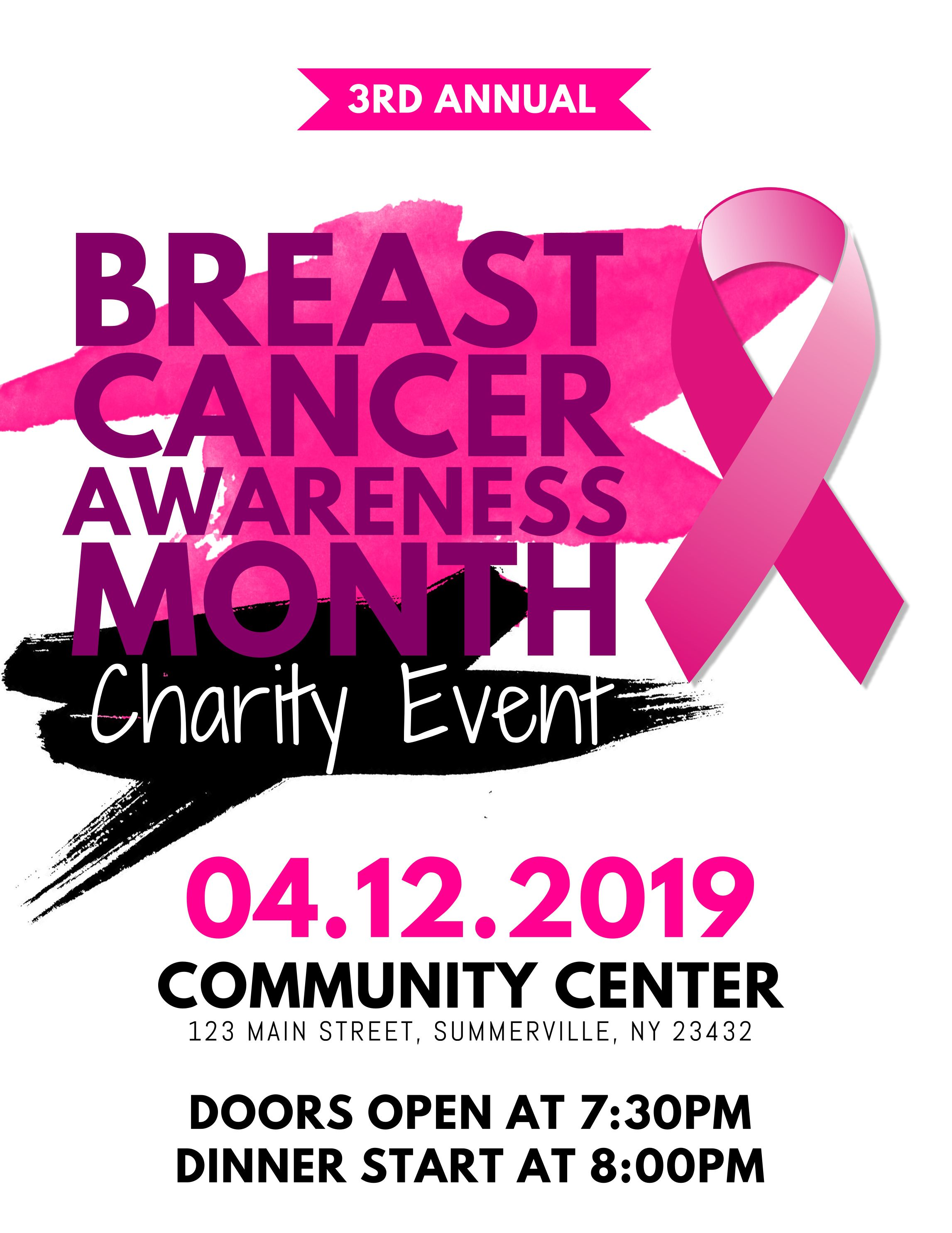 Breast cancer awareness month charity event poster flyer   Breast ...