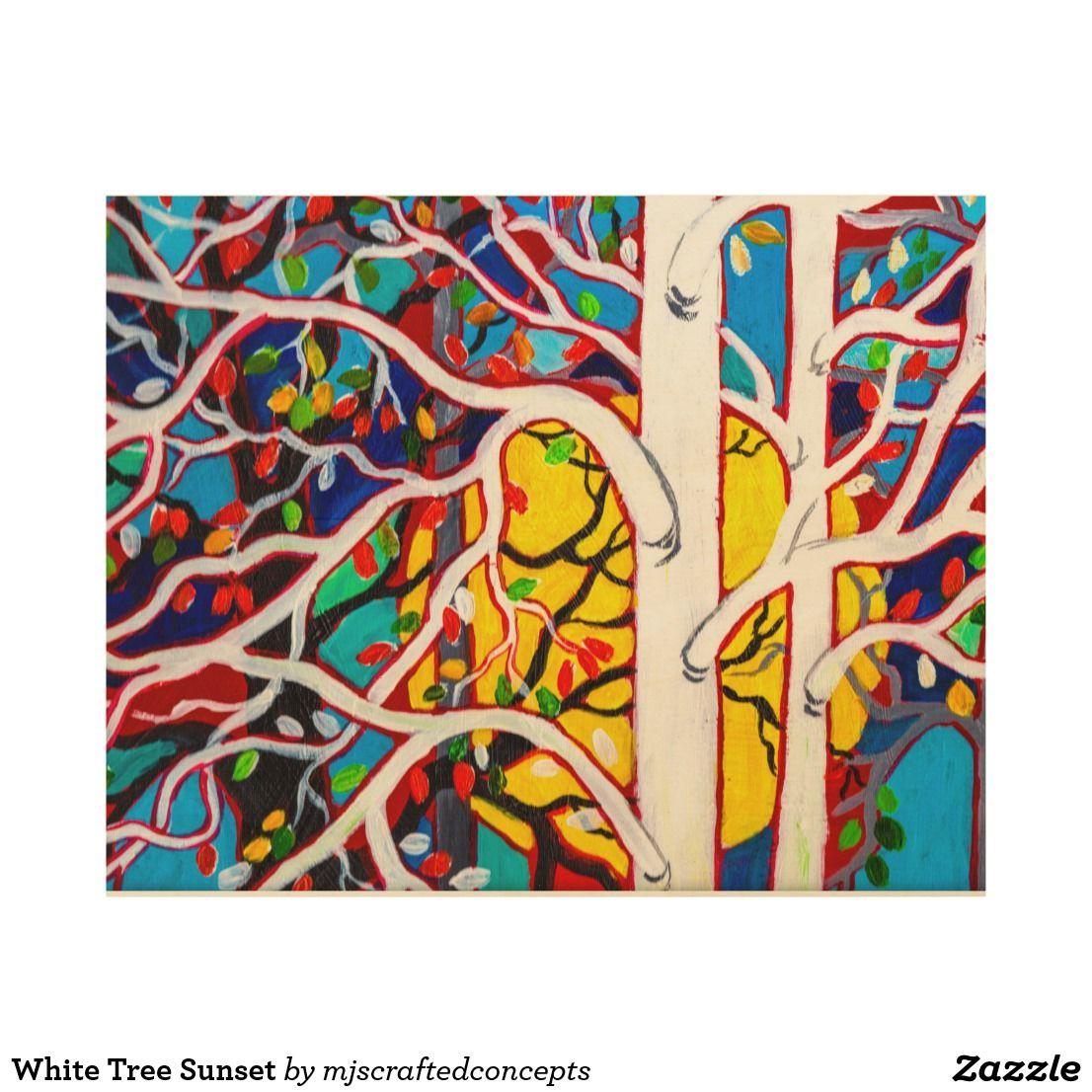 White tree sunset wood wall art