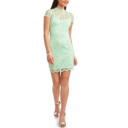 e3f82d520 No Boundaries Juniors' Cap Sleeve Mock Neck Lace Dress With Cut Out Back  https: