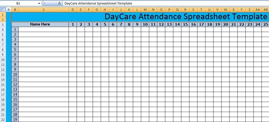 Download DayCare Attendance Spreadsheet Templates u2013 Excel - monthly attendance sheet template excel