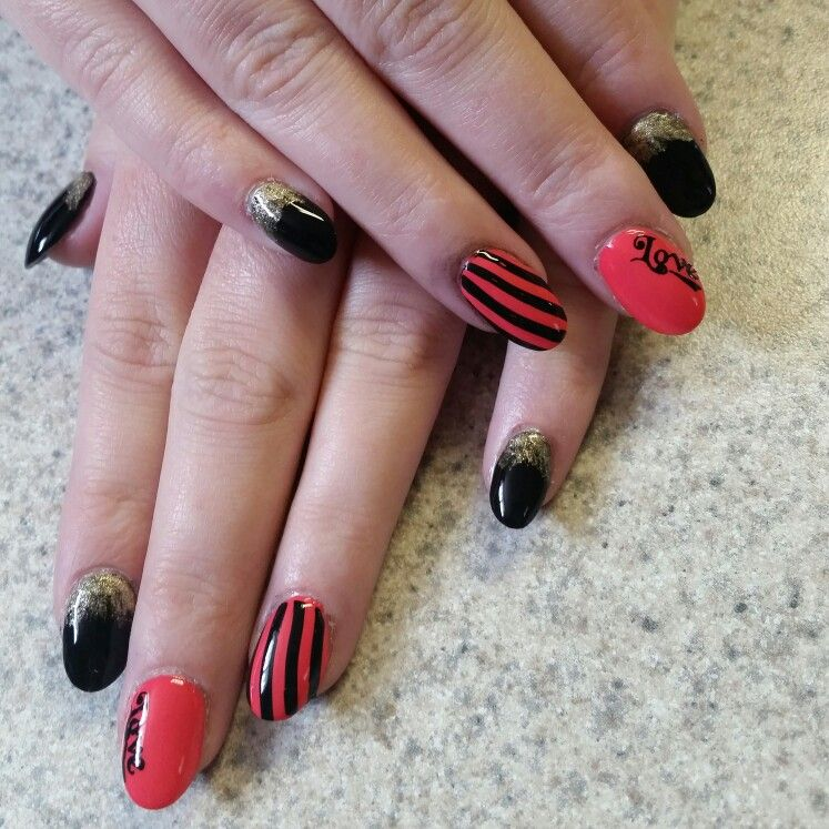 Nail designs stripes & glitter | nails by Bethany | Pinterest