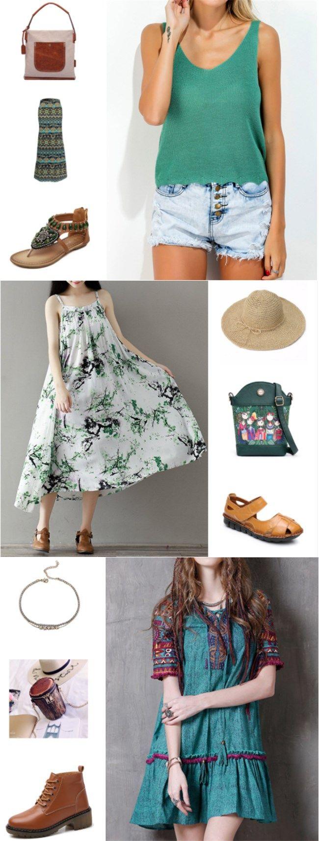 #green#flora l& mori # Indian style#retro look  special retro vest +printed loose dress+  Dr Martens boots+boho sandals+summer hat