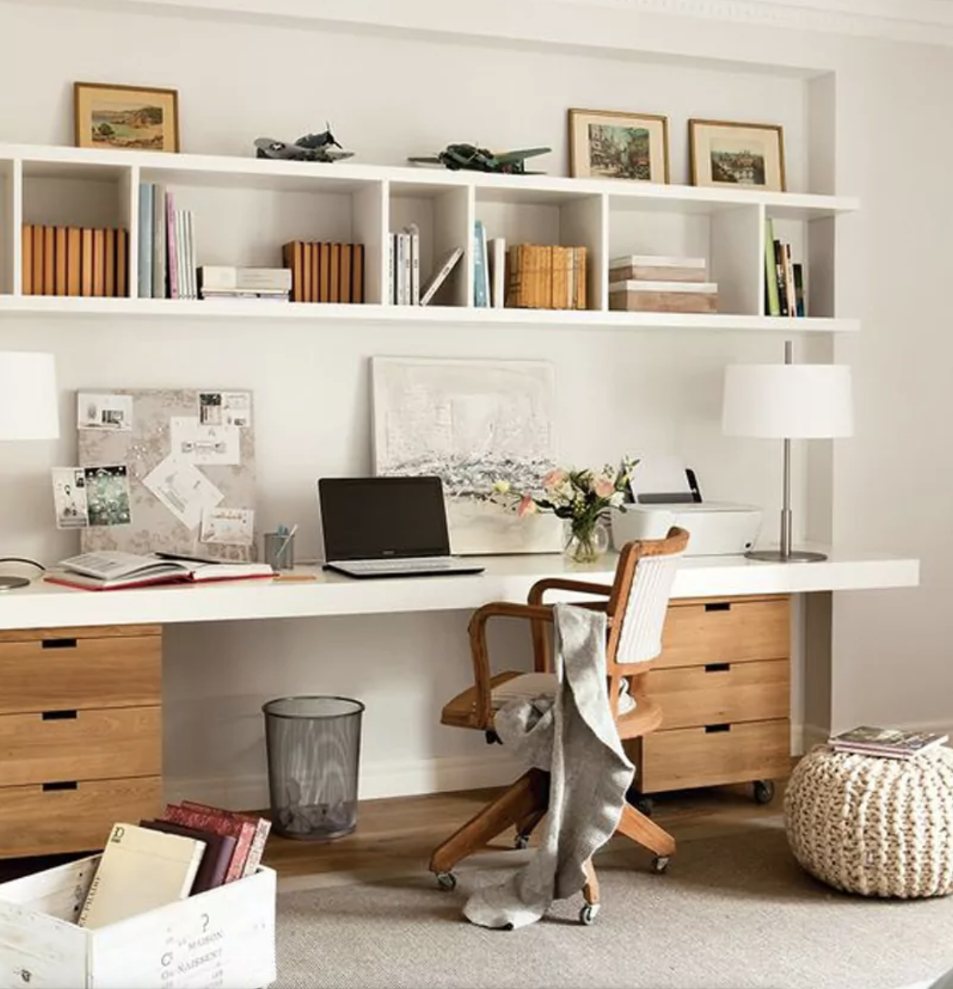 Long Desk With Filing Cabinets And Above Desk Cube Storage