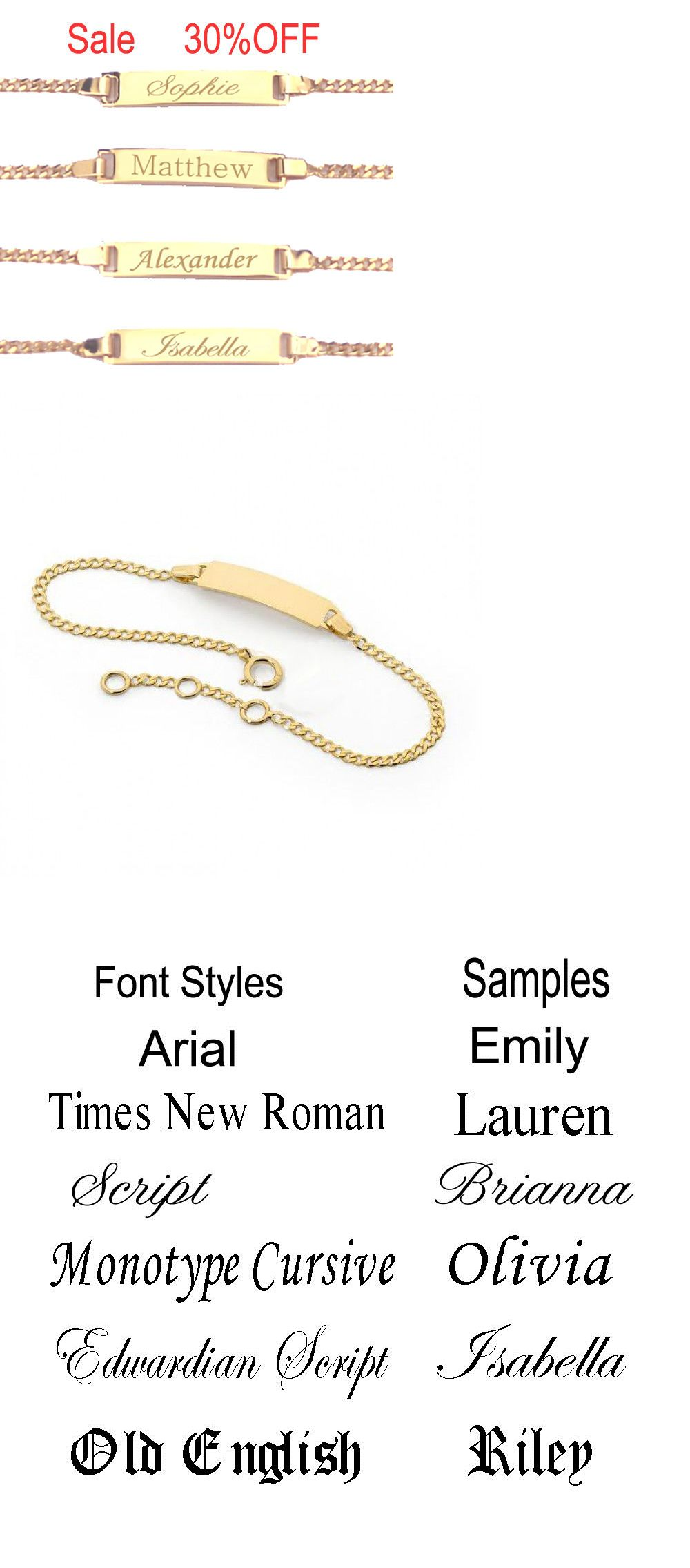 K gold filled personalized children id bracelet any name boy or
