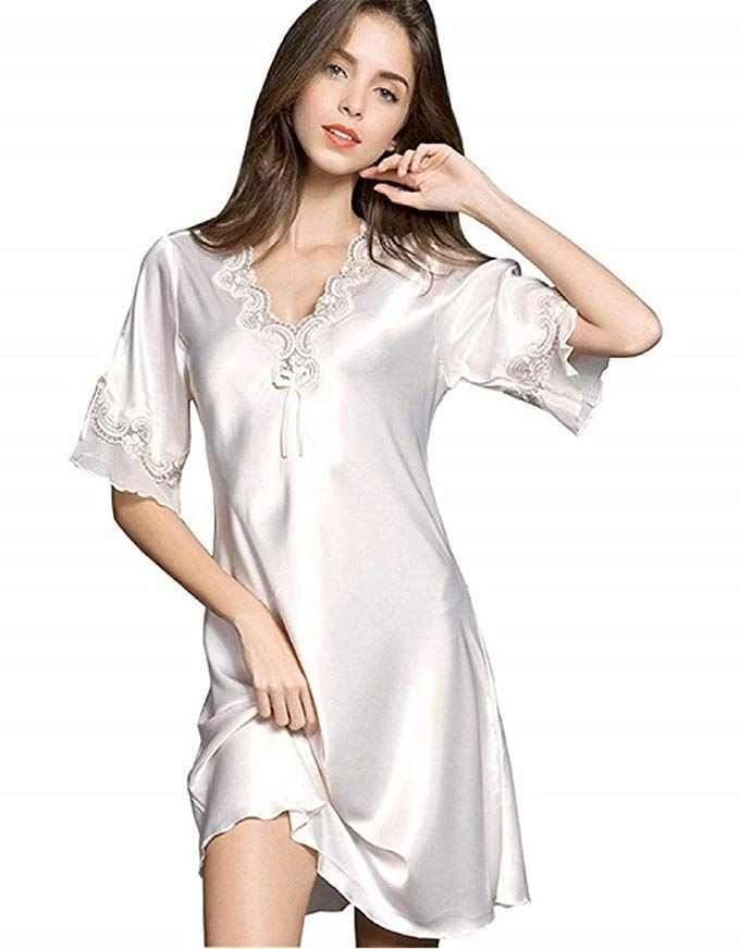 Ufatansy Women Sleepwear Sexy Lingerie V-Neck Soft Nightgown Short Skirt  Silk Lace Pajama Dress 6eb2aebd2