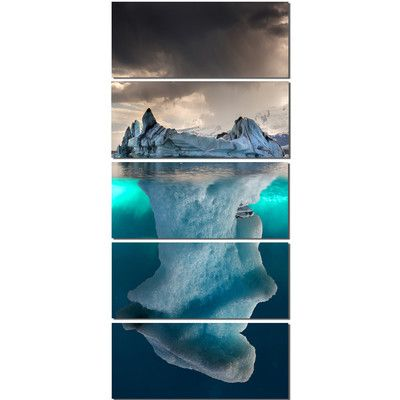 Designart Large Iceberg In Sea 5 Piece Wall Art On Wrapped Canvas Set Canvas Art Prints Seascape Photography Metal Wall Art