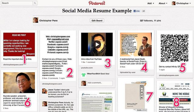8 tips for a Pinterest social media resume Last night in - social media resume example