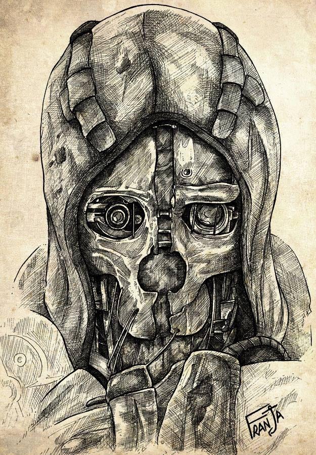 Steam punk mask Corvo Game art, Dishonored, Dishonored mask