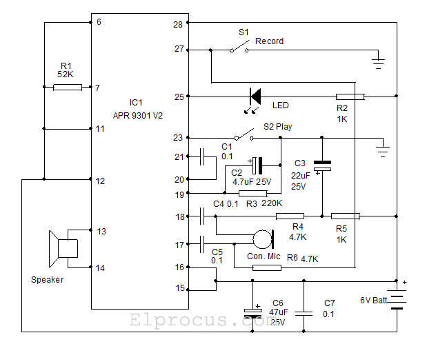 voice recorder and playback circuit apr 9301 working and