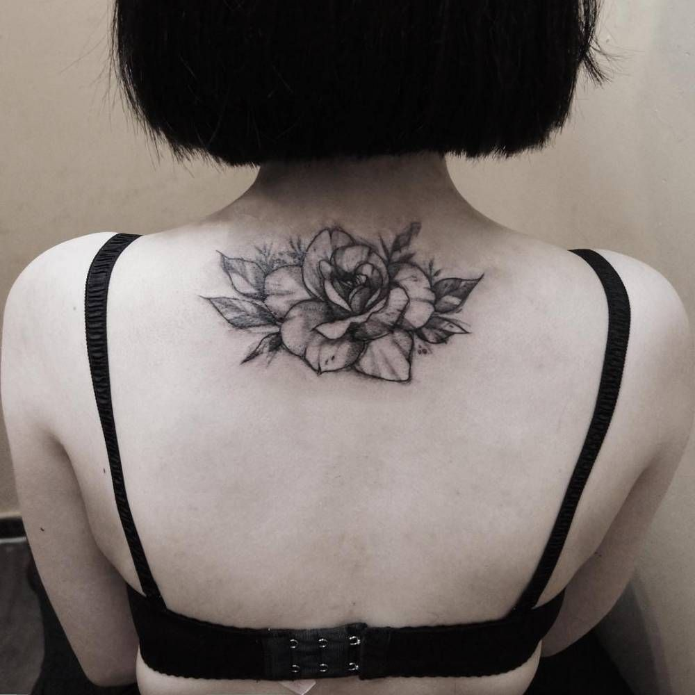 Tattoo For Woman On The Back: Upper Back Tattoo Of A Rose. Tattoo Artist: Zihwa