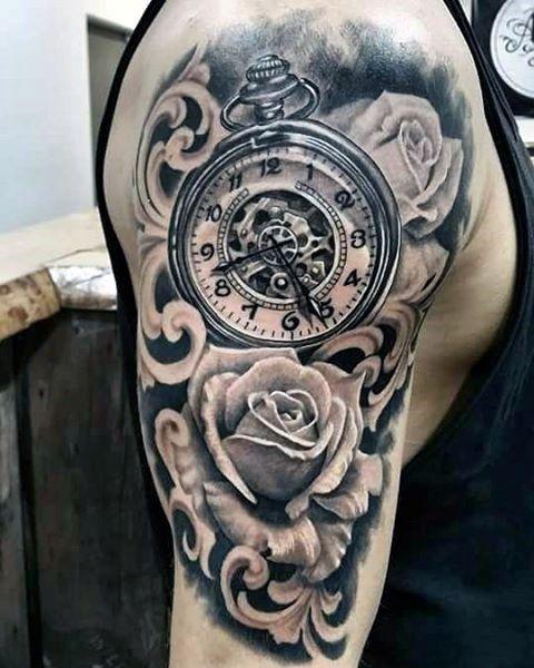 17 Tatuajes de rosas con reloj para mujer
