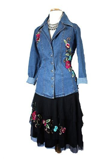 Brands :: Vintage Collection :: VINTAGE COLLECTION SUMMER 2014 DENIM AND FLORAL MESH SHORT SKIRT! - Native American Jewelry|Ladies Western W...http://www.cowgirlkim.com/cowgirl-brands/vintage-collection/vintage-collection-summer-2014-denim-and-floral-mesh-short-skirt.html