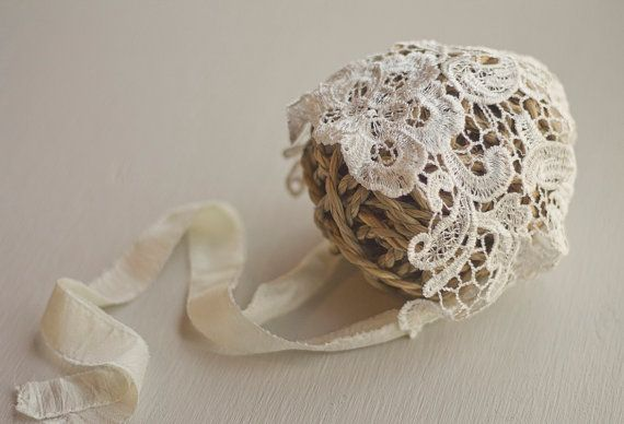 CHARLOTTE. Lace Newborn Bonnet. Ivory by justjosie on Etsy, $29.00