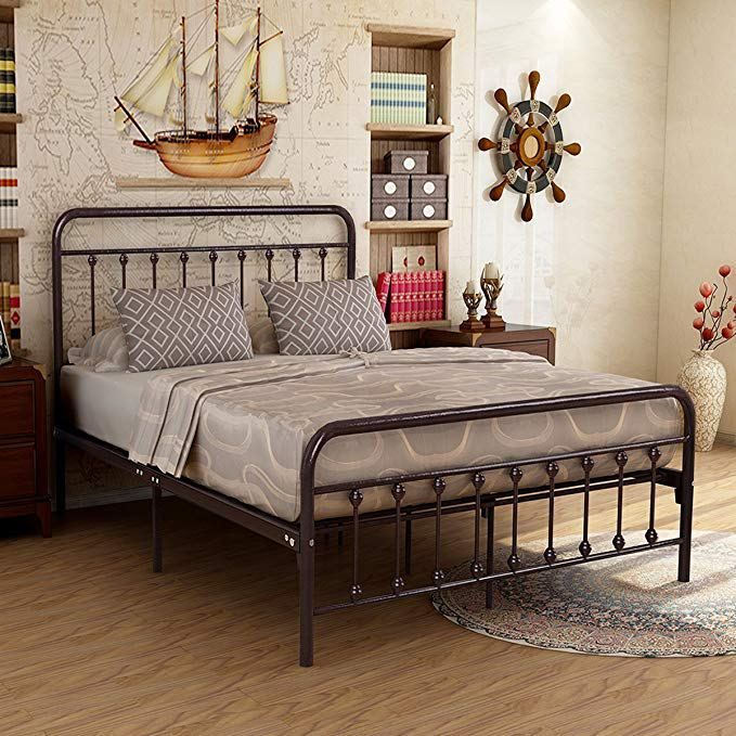 Best Metal Bed Frame Iron Decor Steel Queen Size Base With 640 x 480