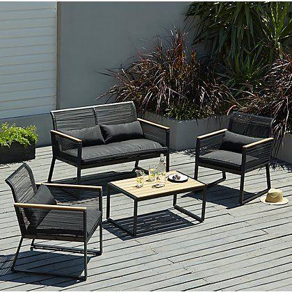 Tremendous Noir 4 Piece Garden Sofa Set Home Ideas Garden Sofa Set Inzonedesignstudio Interior Chair Design Inzonedesignstudiocom