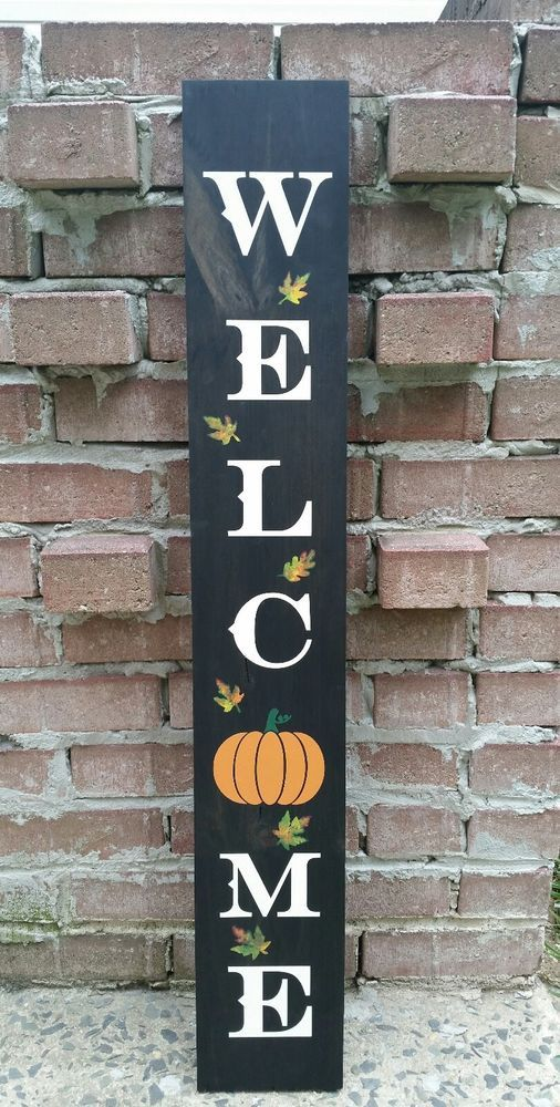 Autumn Fall Vertical Porch Front Door Entry 3 Feet Tall Welcome Wood